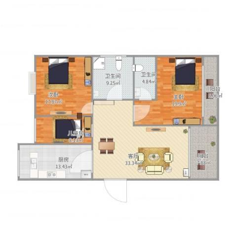 鸿翔湖景苑3室1厅2卫1厨129.00㎡户型图