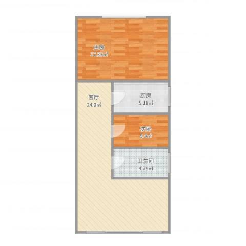 宁阳小区2室1厅1卫1厨78.00㎡户型图