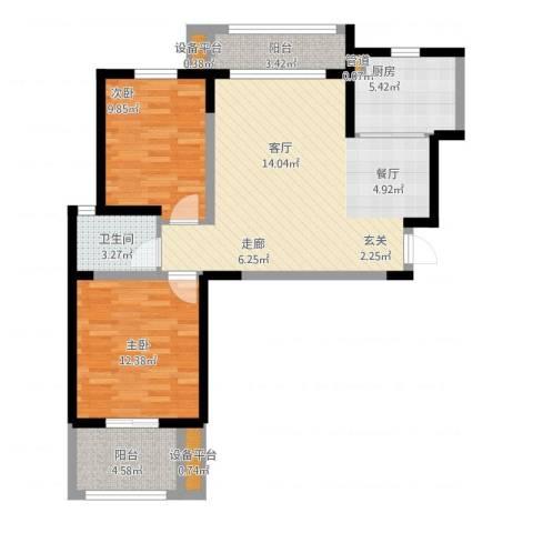 桃苑红杉郡2室1厅4卫1厨98.00㎡户型图