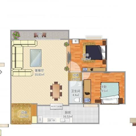 东福宏洲2室1厅1卫1厨171.00㎡户型图