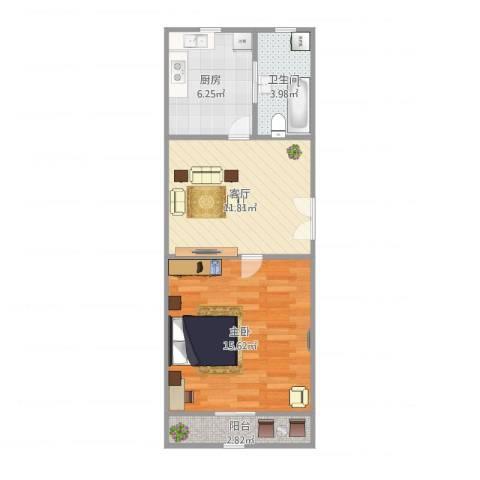 万荣小区1室1厅1卫1厨55.00㎡户型图