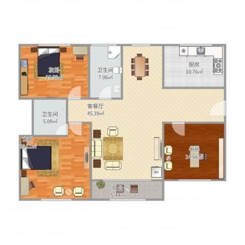 由由民丰苑3室1厅2卫1厨165.00㎡户型图
