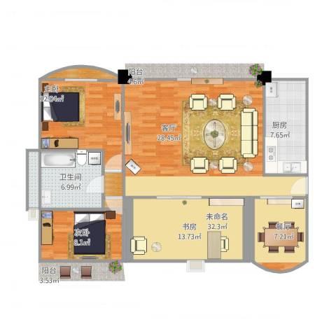 未来海岸浪琴湾3室1厅1卫1厨83.00㎡户型图