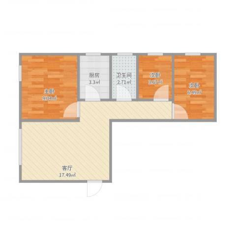 华丽花园3室1厅1卫1厨59.00㎡户型图