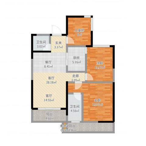 保利东湾国际3室1厅2卫1厨123.00㎡户型图