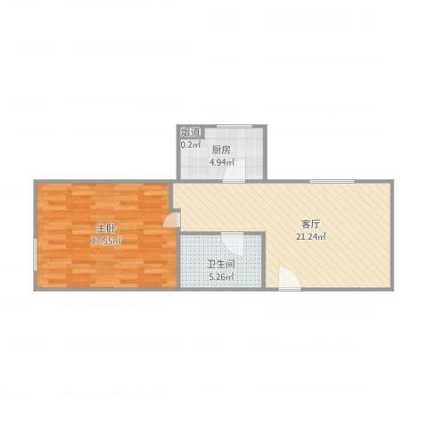 富锦华庭6-1-22011室1厅1卫1厨66.00㎡户型图