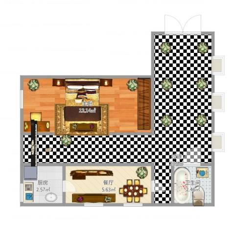 新宏・香榭丽舍1室1厅1卫1厨59.00㎡户型图
