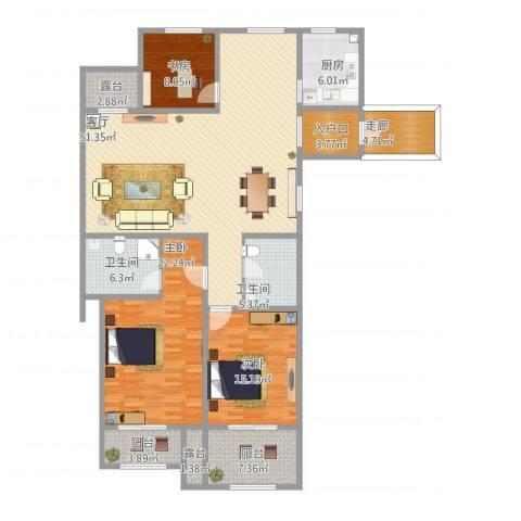 凤凰花园3室1厅3卫1厨194.00㎡户型图