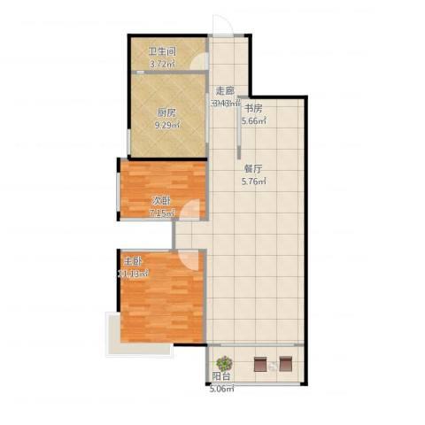 阳光花园2室1厅1卫1厨102.00㎡户型图