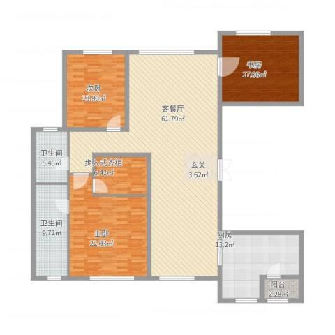 中庚当代艺术3室1厅2卫1厨211.00㎡户型图