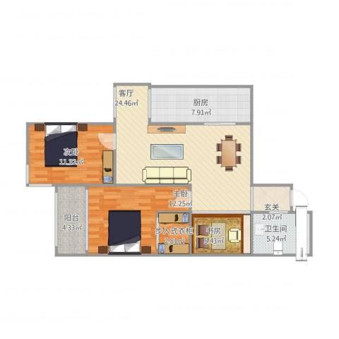 天创世缘3室1厅1卫1厨103.00㎡户型图
