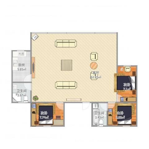 怡海花园3室1厅2卫1厨129.00㎡户型图