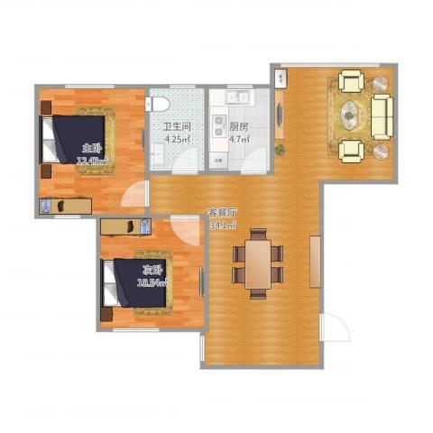 光信国信嘉园2室1厅1卫1厨88.00㎡户型图
