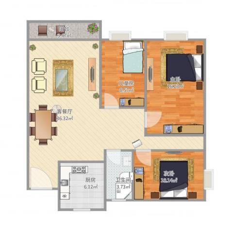 罗村花苑3室1厅1卫1厨114.00㎡户型图
