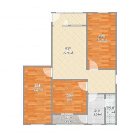 怡富花园3室1厅1卫1厨89.00㎡户型图