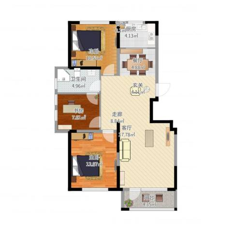 华亿红府3室1厅1卫1厨112.00㎡户型图