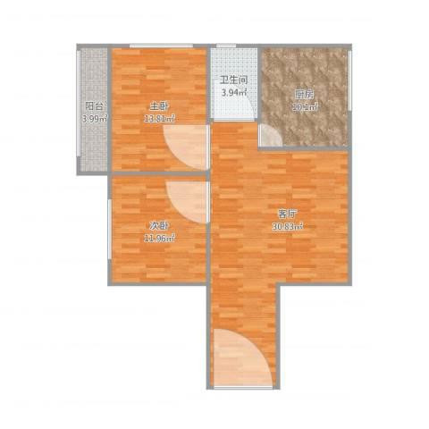 鸿业新天地2室1厅1卫1厨100.00㎡户型图