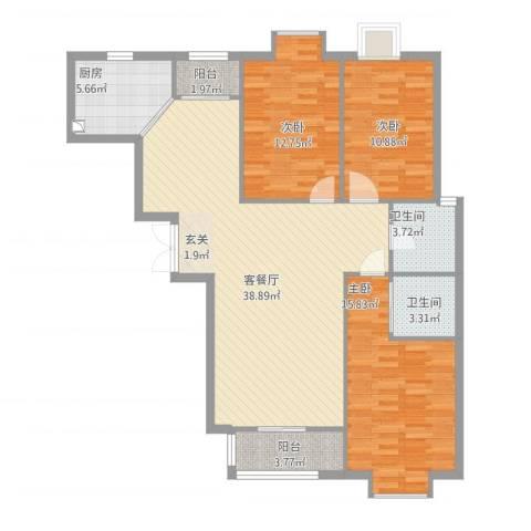 紫金领秀二期3室1厅2卫1厨134.00㎡户型图