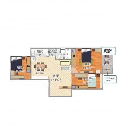 博文园3室1厅1卫1厨88.00㎡户型图