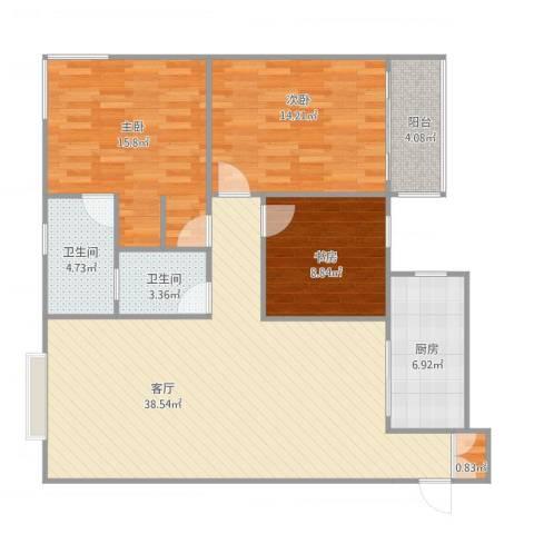 西港国际花园3室1厅2卫1厨131.00㎡户型图