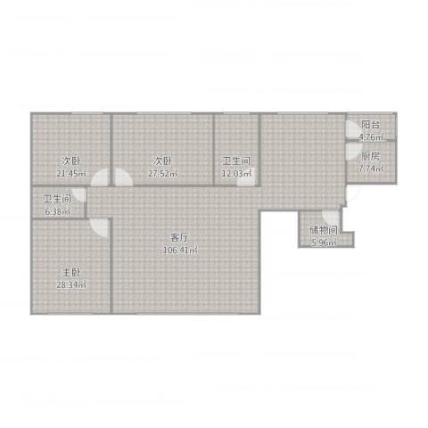 雍景台3室1厅2卫1厨289.00㎡户型图