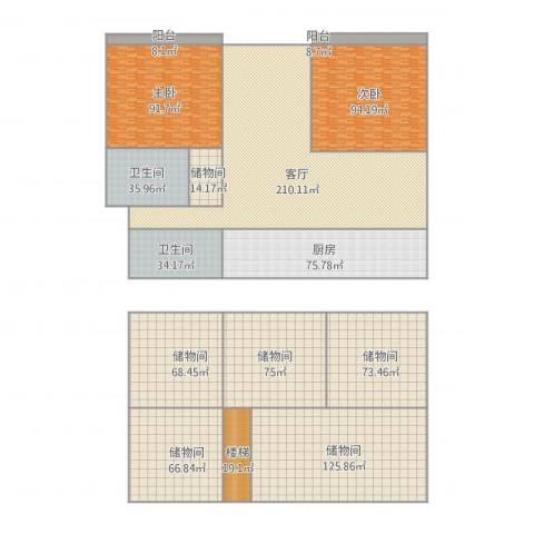 流水苑2室1厅2卫1厨1291.00㎡户型图