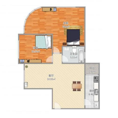 东方之珠花园e栋07户型图2室1厅1卫1厨93.01㎡户型图