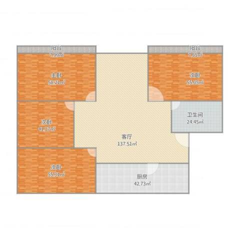 朝晖八区4室1厅1卫1厨558.00㎡户型图