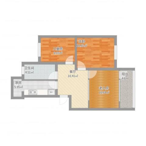 梅花山庄3室1厅1卫1厨80.00㎡户型图