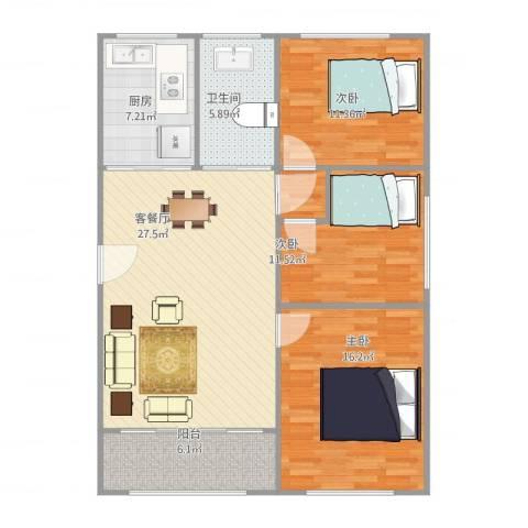 浦发绿城2079弄小区3室1厅1卫1厨115.00㎡户型图