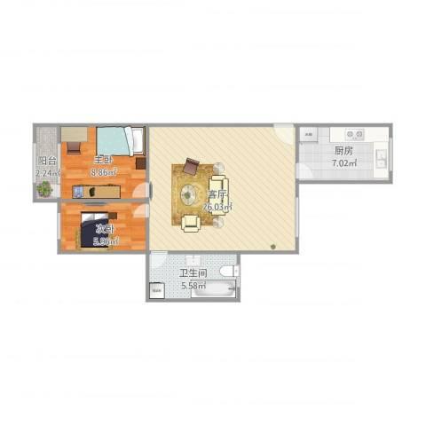 淞南二村2室1厅1卫1厨75.00㎡户型图