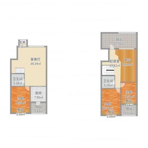 凯旋大地3室1厅2卫1厨227.00㎡户型图