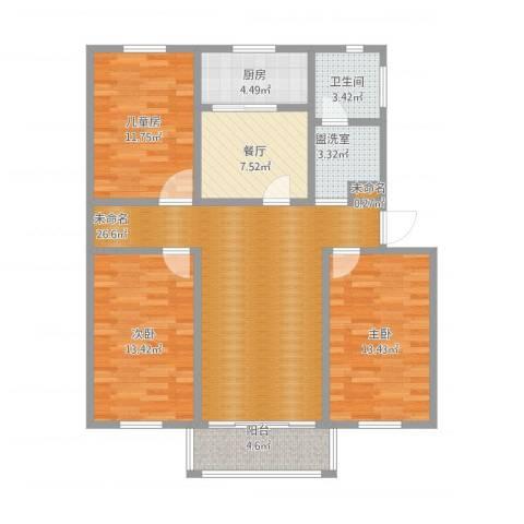 凤台小区3室2厅1卫1厨126.00㎡户型图