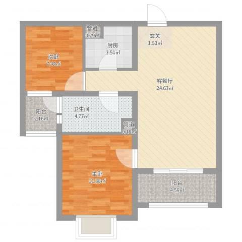 恒阳花苑海上花2室1厅1卫1厨86.00㎡户型图