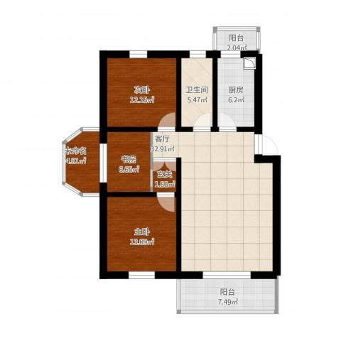 久华里3室1厅1卫1厨138.00㎡户型图