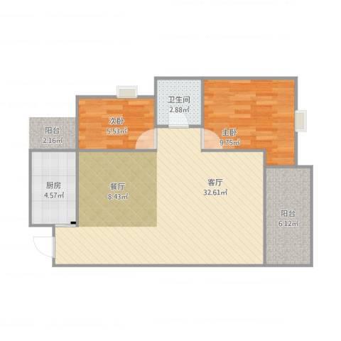玮益上城华府2室1厅1卫1厨82.00㎡户型图