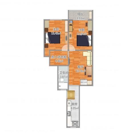新南小区2室1厅1卫1厨79.00㎡户型图