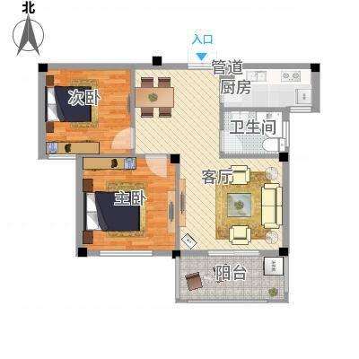 两室两厅一卫—两房朝南(柏顿公馆87.70㎡)