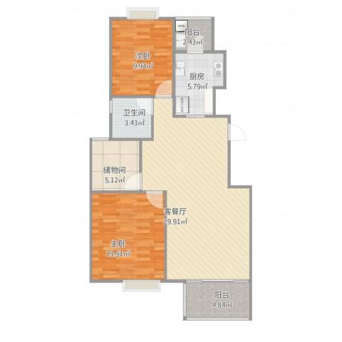 龙柏香榭苑2室1厅1卫1厨101.00㎡户型图