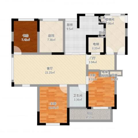 金色城邦3室1厅6卫3厨126.00㎡户型图