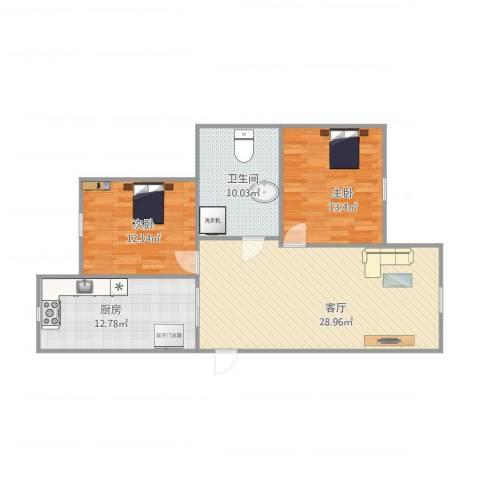 北美家园一期2室1厅1卫1厨103.00㎡户型图