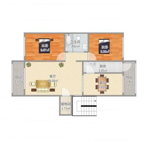 晨光花园3栋1门2022室2厅1卫1厨84.00㎡户型图