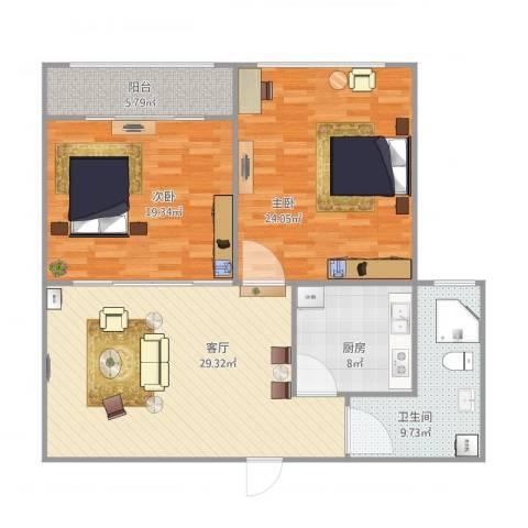 丁豪蓝调国际2室1厅1卫1厨128.00㎡户型图