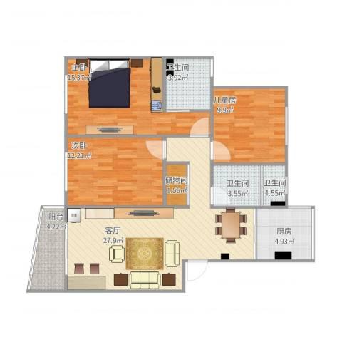 紫叶东园3室1厅3卫1厨117.00㎡户型图