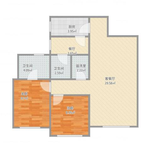 银都花园2室3厅2卫1厨87.00㎡户型图