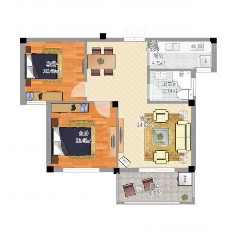 柏顿公馆2室1厅1卫1厨88.00㎡户型图