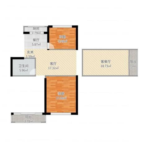 静安花园2室1厅1卫1厨84.00㎡户型图