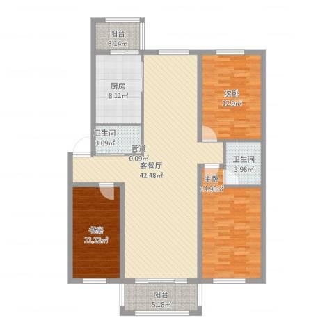 一汽47街区3室1厅2卫1厨149.00㎡户型图