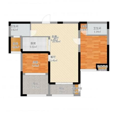 金海名园2室1厅4卫1厨112.00㎡户型图