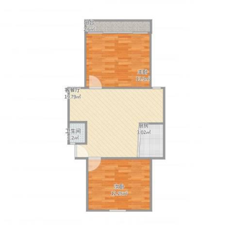 银都六村2室1厅1卫1厨56.50㎡户型图